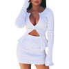 Winter 2 pieces sets outfits Women sexy party Casual Double Zipper Skirt Suit Long Sleeve Crop Tops + mini Skirt clothes #281024