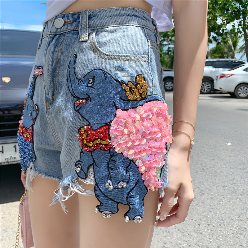 High Quality Cartoon Dumbo Sequined Diamond Denim Shorts New Summer Loose Wide Leg Hole Shorts Students Hot Shorts Women Casual