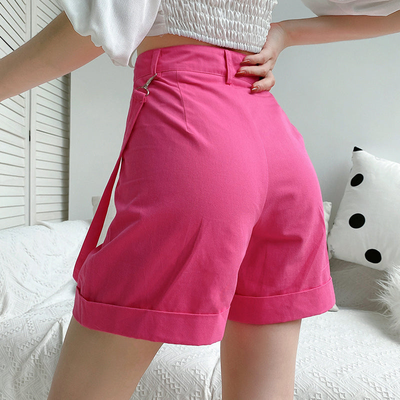 HEYounGIRL Pink Casual Cargo Short Pants Women Harajuku High Waist Shorts with Strips Pockets Fashion Loose Shorts High Street