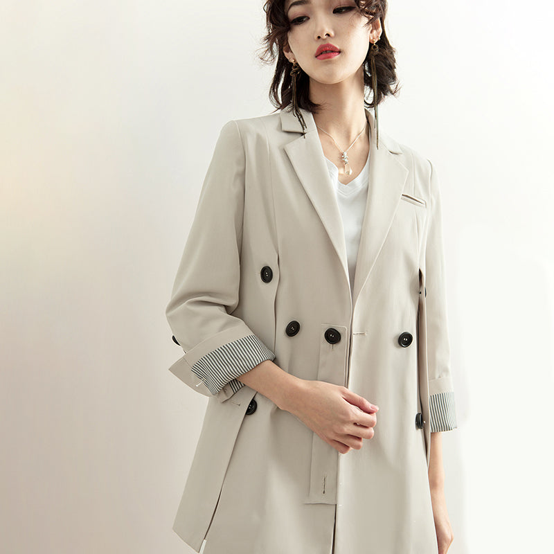 [EAM] 2020 New Spring Summer Lapel Long Sleeve Beige Brief Button Split Joint Loose Jacket Women Coat Fashion Tide JQ290