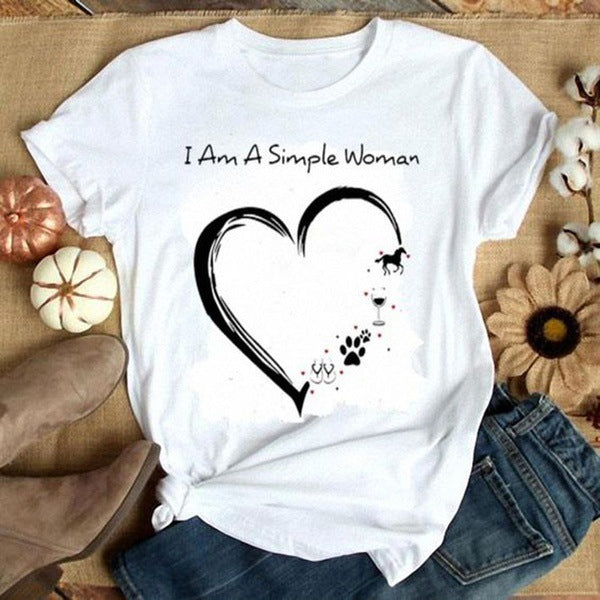 Summer Valentine's Day Lovely Printing Size S-3XL Short-Sleeved Women's t-shirt for Girls