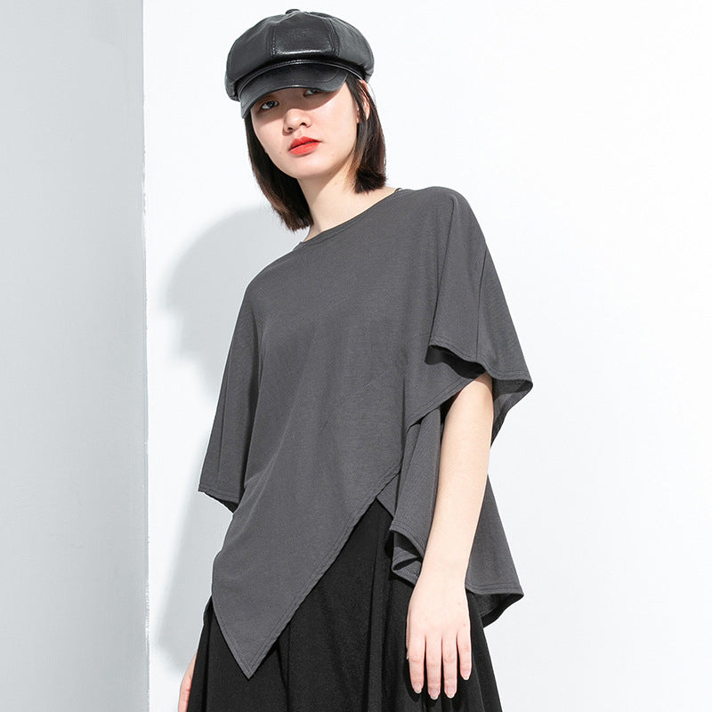[EAM] Women Gray Multicolor Brief Temperament Big Size T-shirt New Round Neck Half Sleeve Fashion Tide  Spring Summer 2020 1U042