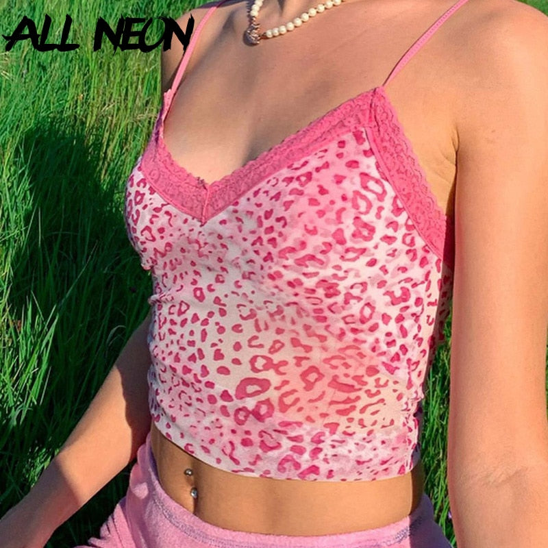 ALLNeon E-girl Y2K Hot Pink Leopard Print V-neck with Lace Camis Tops Sweet Fashion Spaghetti Strap Backless Summer Crop Tops