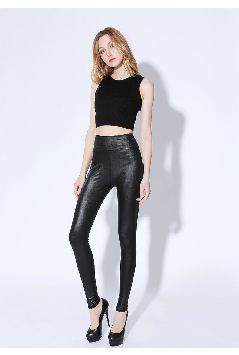 7XL 175kg high waist slim slimming faux leather pants fat MM stretch large size feet pants nine points leggings wear