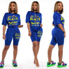 2020 New Summer Women Set Tracksuits Letter Print Short Sleeve Tops+Shorts Sexy Night Party Street Two Piece Suit Outfits GL6139