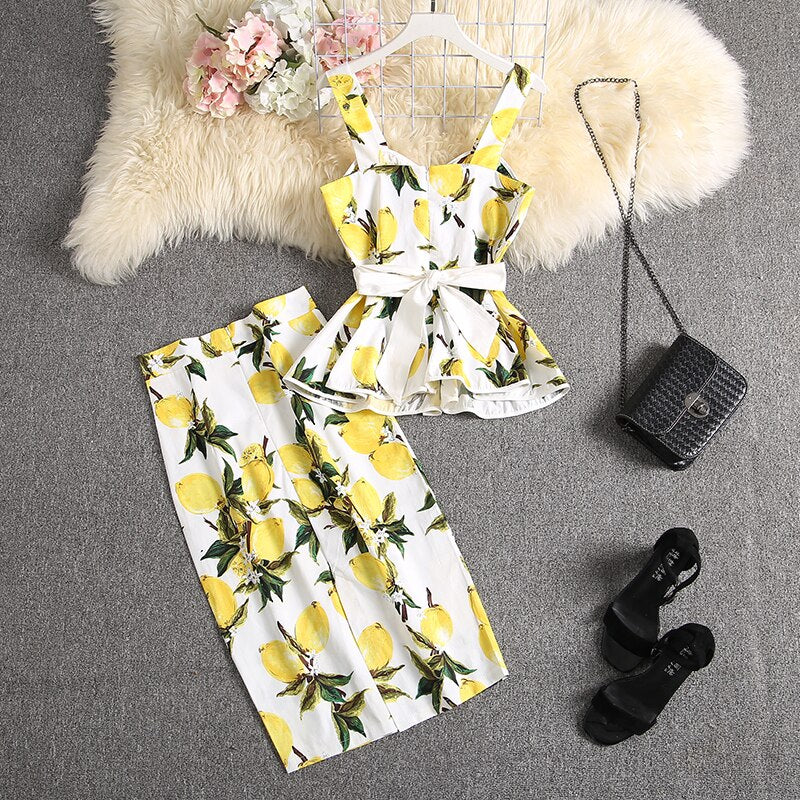 ALPHALMODA 2020 New Sweet Tank Top + Straight Skirt Women 2pcs Suit Ruffled Printed Blouses Outfit Knee Length Skirt Set