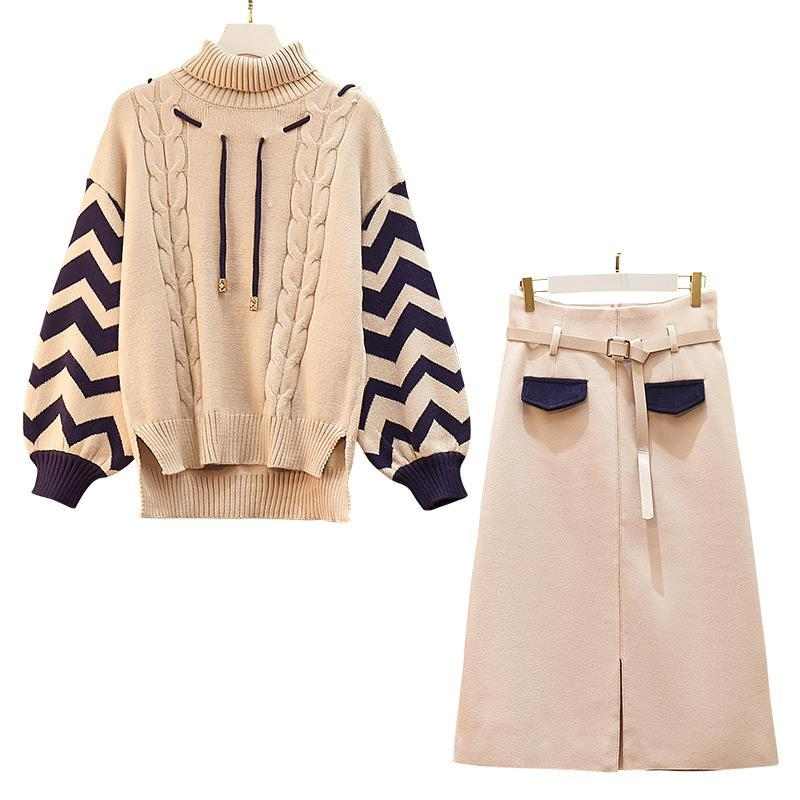 two pieces women sets knitted sweates and skirts slim clothing college students set autumn/spring Korean style women clothing