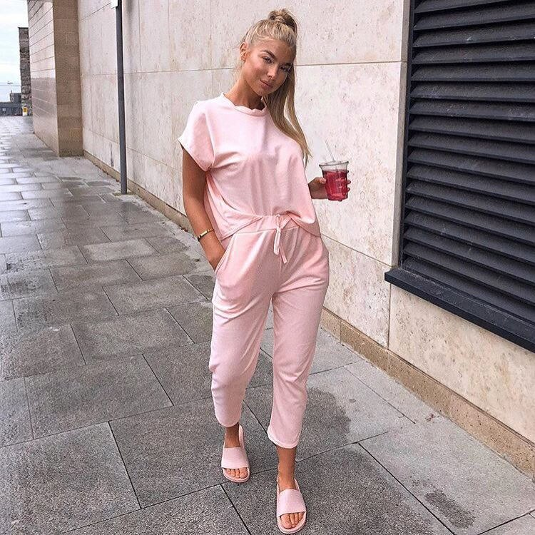 Women's Hot Selling Spring/Summer 2020 Hot Selling round Neck Short Sleeve Two-Piece Casual Set