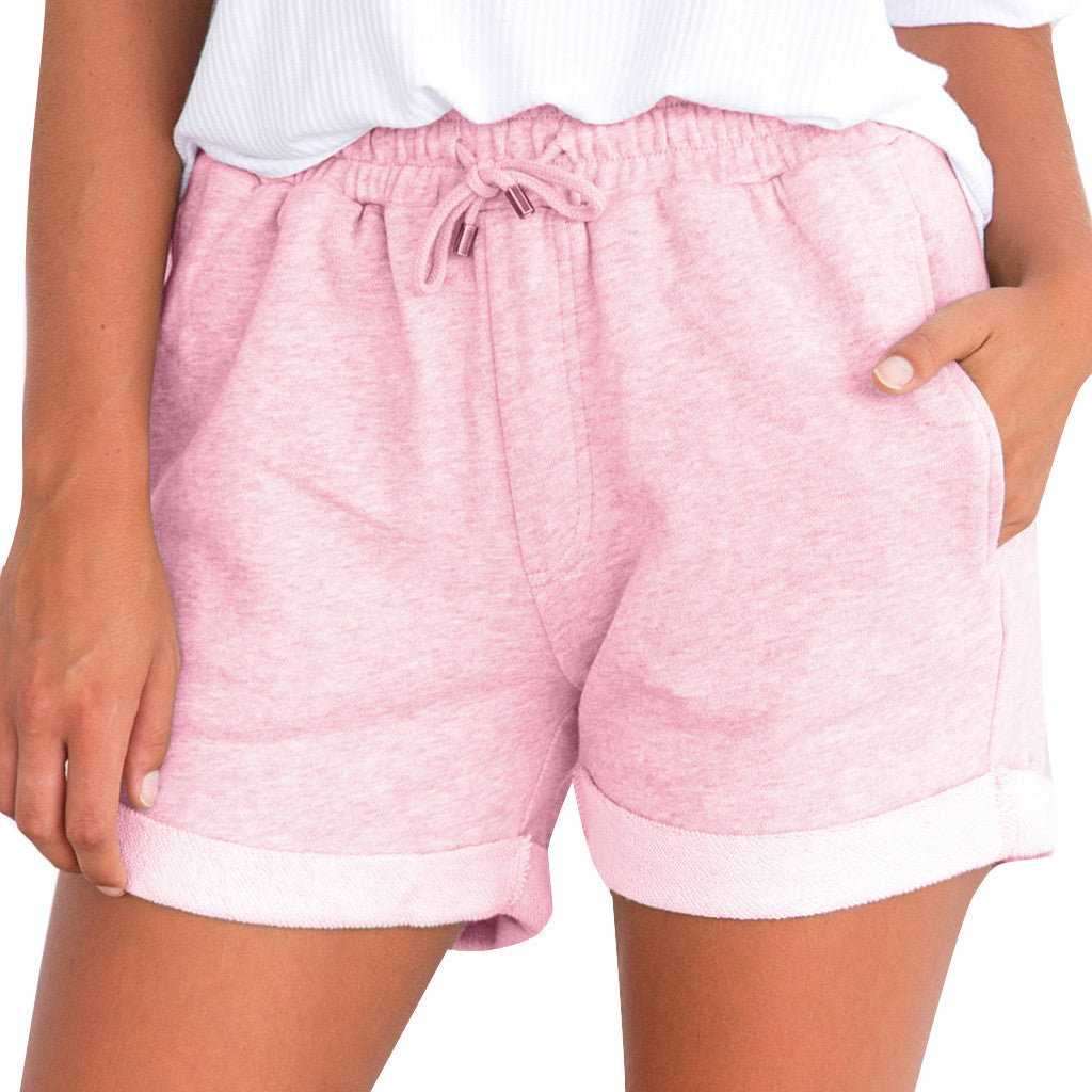 Women Shorts Pure Color Pocket Loose Sport Shorts Lady Summer Home Shorts Trousers Elastic Waist Running Shorts Women Famale