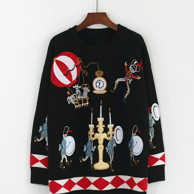 Winter Runway Sweater Women Luxury Design Elegant Circus Soldiers Balloons Candles Embroidered Loose Warm Knitted Tops (Black One Size)