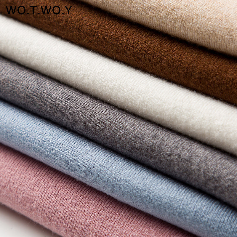 WOTWOY Autumn Winter Solid Cashmere Sweater Women Knitted Long Sleeve Turtleneck Sweaters Women Slim Fit Basic Pullovers 2020