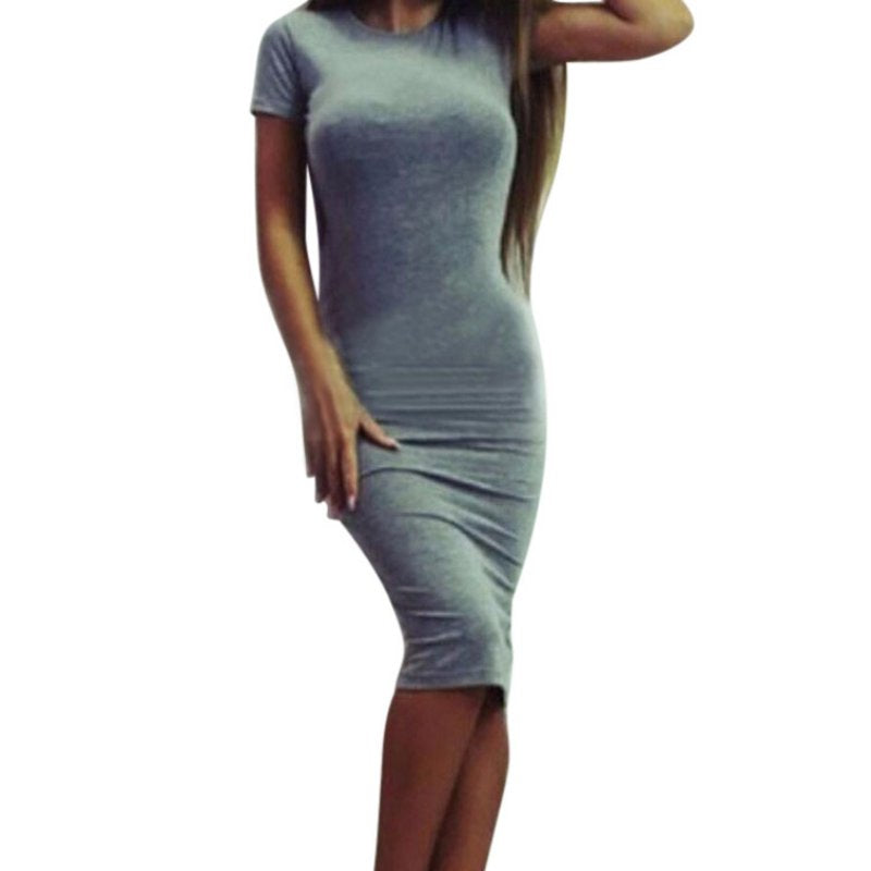 1pcs Womens Dress Vestido Short Sleeve Slim Bodycon Dress Tunic Crew Neck Casual Pencil Dress