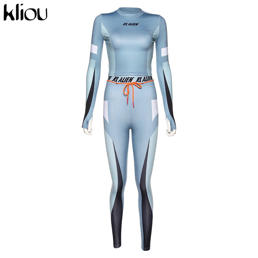 kliou High elastic letter print Fitness tracksuit woman 2 piece set skinny Long sleeves crop Top slim Leggings Sportswear Suit