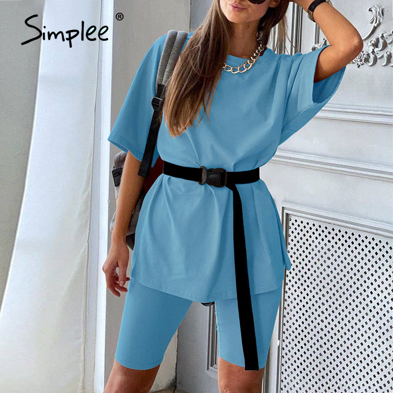 Simplee Casual solid women's two piece suit including belt solid color home loose sports fashion leisure suit summer
