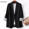Business Plaid Suits Women Work Office Ladies Long Sleeve Spring Casual Blazer