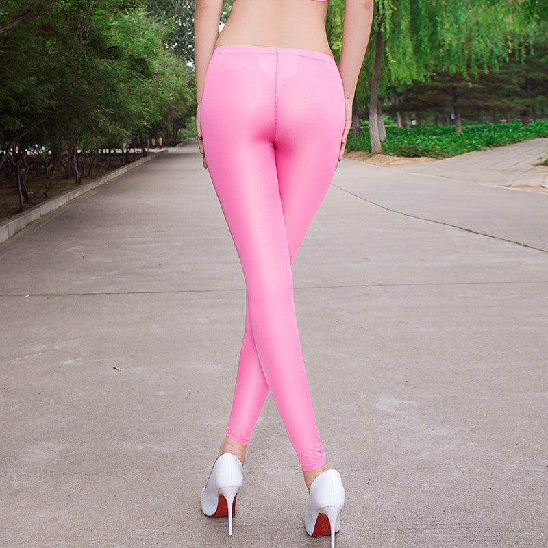 Sexy Women Slimming Nylon Open Crotch Leggings Transparent Elastic Fitness Low Waist Plus Size Hot Erotic Pencil Pants