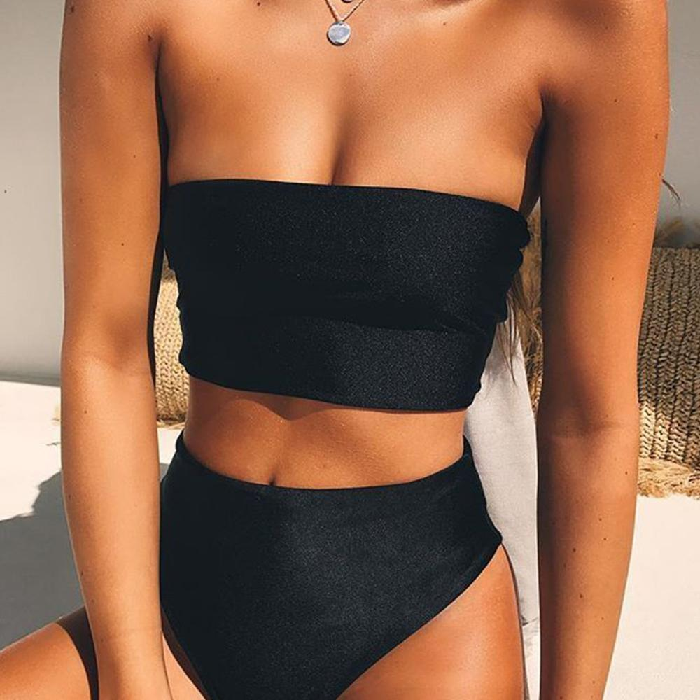 Women Bikini Set Off Shoulder Wrapped Chest Solid Push Beachwear No Swimwear Swimsuit Bandage Pad Up A4Z0