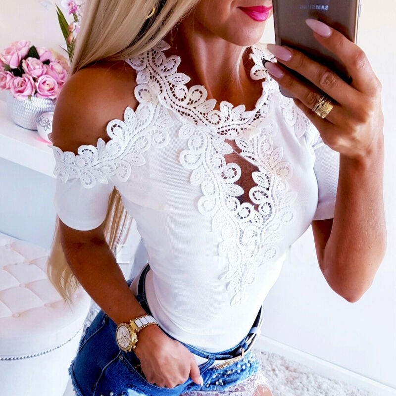2020 Ladies Fashion T-Shirt Women Lace Short Sleeve Casual T-Shirt Female Solid White Red Embroidery Off Shoulder New T-Shirts