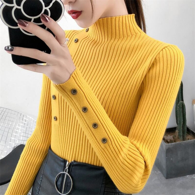 2020 Women Autumn Knitted Sweater Solid Knitted Female Cotton Soft Elastic Color Pullovers Button Full Sleeve Turtleneck