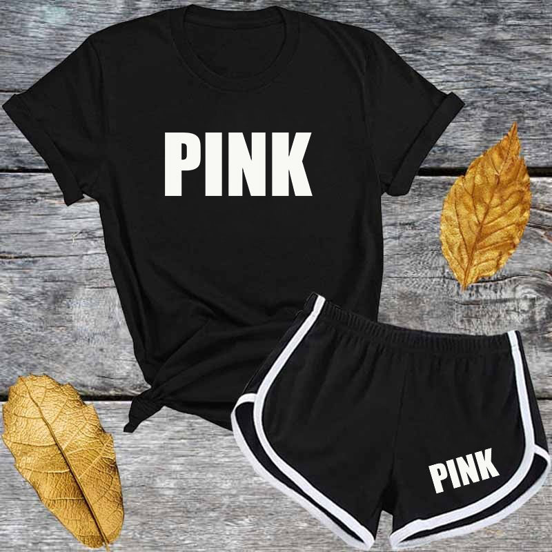 Cute Pink Letter T shirt and Shorts Tracksuit Set Summer Women Short Sleeve O-neck Fashion Casual 2 Piece Outfit for Woman