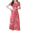 JAYCOSIN Autumn Casual Fit And Flare Maxi Dress Elegant O Neck Short Sleeve Flower Print Women Winter Dresses