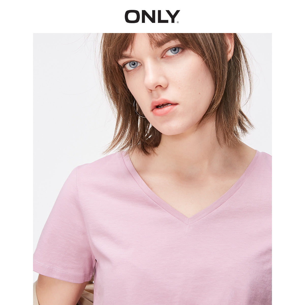 ONLY Women's Pure Color V-neckline 100% Cotton Short-sleeved T-shirt | 119201636