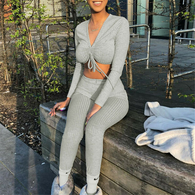 Women Knitted Lounge Wear Sets 2pcs Crop Top  Suit Ladies  Tracksuit Set Autumn Casual Streetwear Clubwear