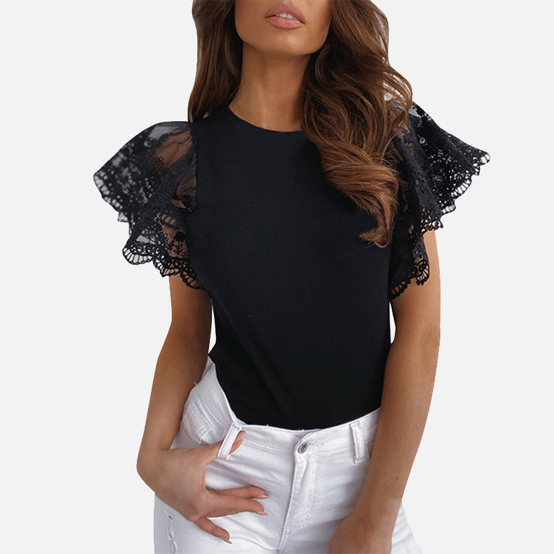 Mesh O-neck Patchwork Blouses Women Summer Office Lady Tops Woman Black White Solid Lace Petal Short Sleeve Female Blouse