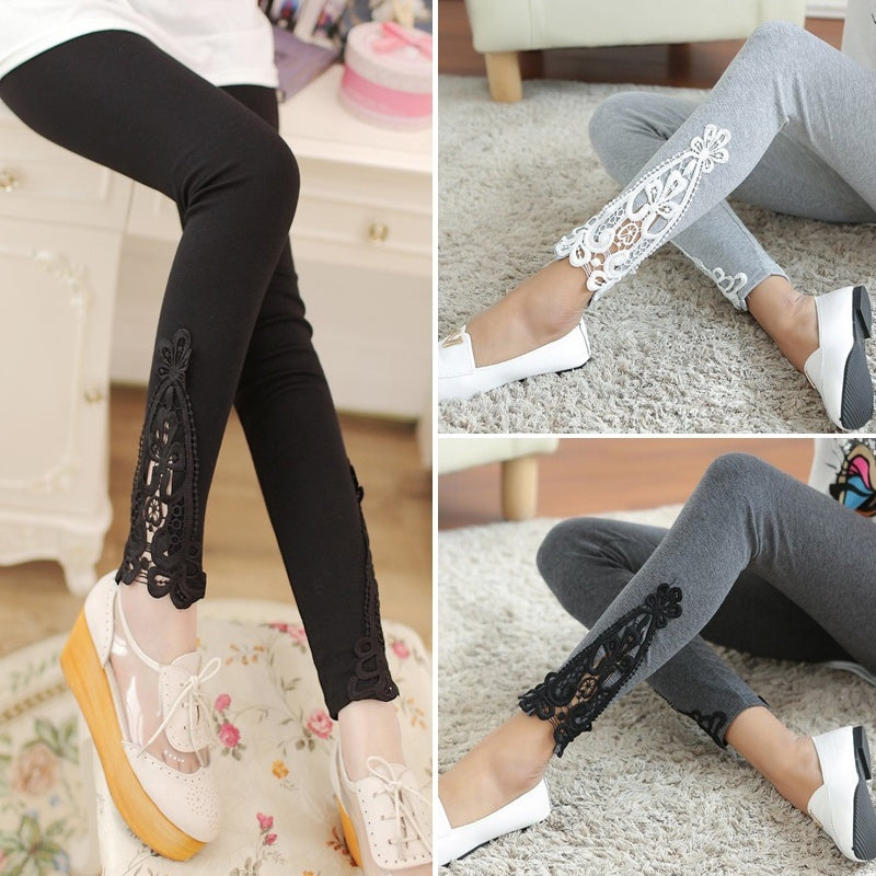 New Sexy Womens Lady Skinny Carved Lace Leggings Stretch Ripped High Waist Casual Legging 4 colors