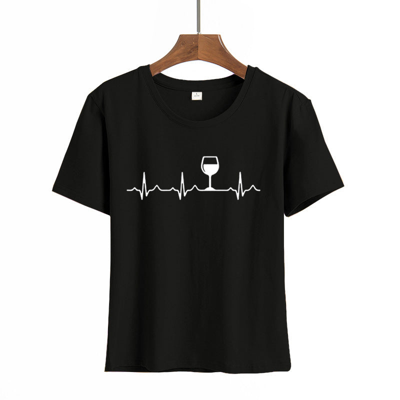 Wine Heartbeat Print T Shirt Women Short Sleeve O Neck Loose Tshirt Summer Women Tee Shirt Tops Camisetas Mujer Femme Tops