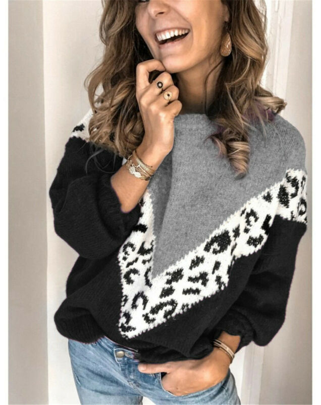 UK Women's Long Sleeve Winter Warm Crew Neck Loose Sweater Leopard Patchwork Ladies Casual Knitted Sweaters Pullover Jumper Tops