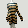 Plus Size Punk Gothic Long Unisex Sweater Dress Women Man Striped Cool Hollow Out Hole Broken Jumper Loose Rock Thin Sweter