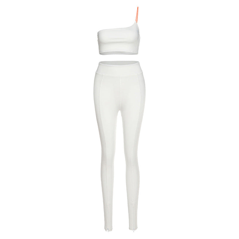 CHRLEISURE White Woman Tracksuit 2 PCS One Shoulder Bodycon Sports Set Skinny Two Piece Outfits Sleeveless Top Side Slit Pants