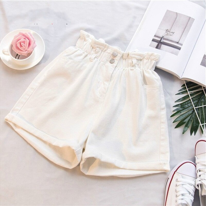 Plus Size Summer Black Women's Denim Shorts Large Size 5Xl Harem Ruffle White High Waisted Shorts Elastic Waist Jeans for Women