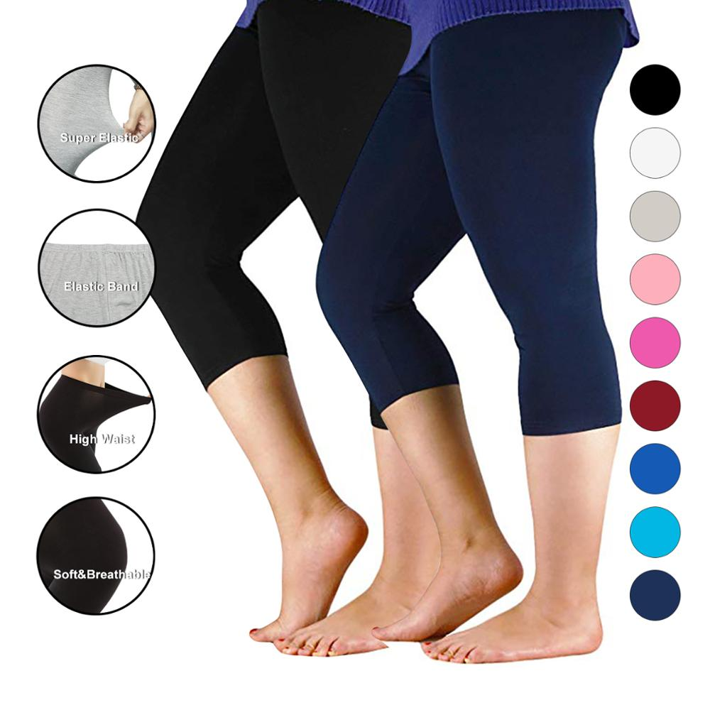 Women Pants Workout Slim Leggings Plus Size Capri Legging High Stretch Casual Bamboo Fiber Leggings Pants Basic Leggings Women