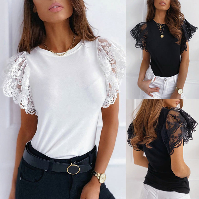 Mesh O-neck Patchwork Blouses Women 2020 Summer Office Lady Tops Woman Black White Solid Lace Petal Short Sleeve Female Blouse