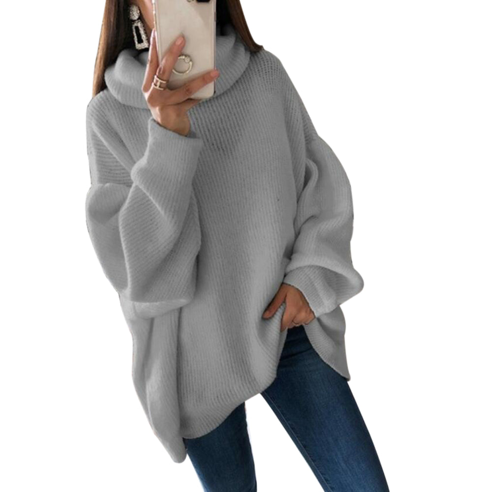 LITTHING Women Oversize Basic Knitted Sweater Female Solid Turtleneck Collar Pullovers Warm Autumn Winter Sweater
