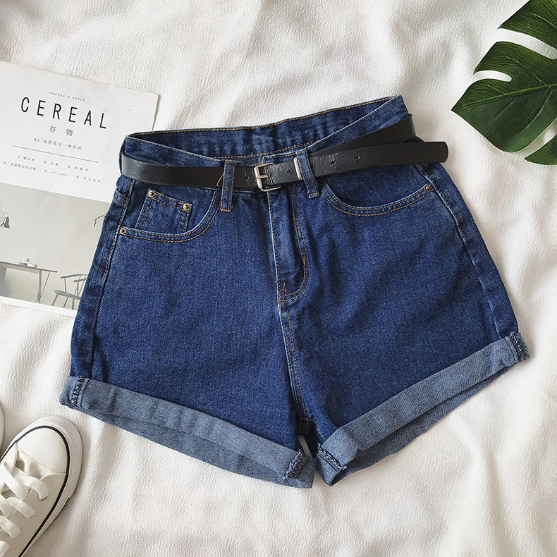 Women Summer Shorts Belt High Waist Loose Casual Slim Denim Shorts Women Shorts Jeans mujer femme Korea Shorts
