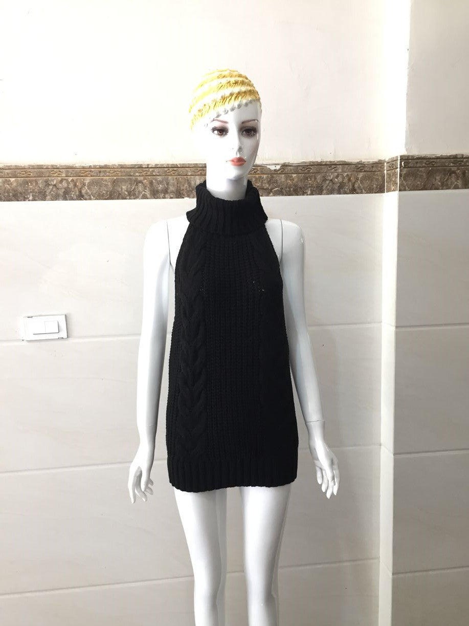 AIUJXK Autumn Virgin Killer Sweater Women Turtleneck Pullover Sleeveless Backless Knitted Sweaters Female Jumper