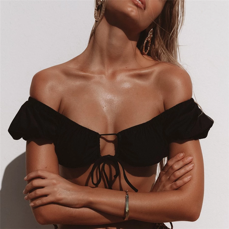 2020 Sexy Fashion Puff Sleeve Swimsuit Biquini Women Strapless Bikini Set Backless High Cut V Swimwear Women Summer Beach Wear