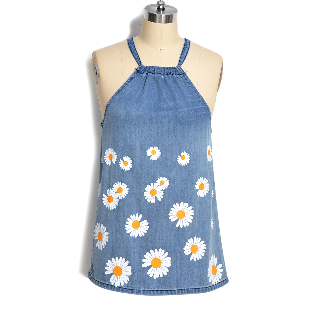 Womens Summer Daisy Tank Halter Neck Bandage Sexy Vest Long Camisole Sleeveless Sunflower Print Denim Women Blouse Tops T-Shirts