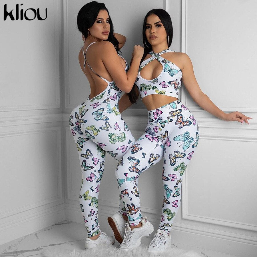 Kliou 2 piece sets womens outfits hollow out backless short crop top bow print elastic hight skinny fitness sleeveless female