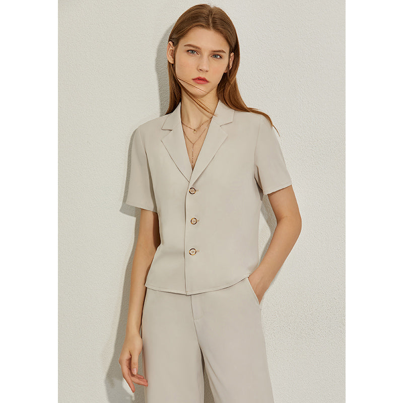 AMII Minimalism Spring Summer Solid Lapel Slim Olstyle Shirt Caual High Waist Loose Pants 12070243