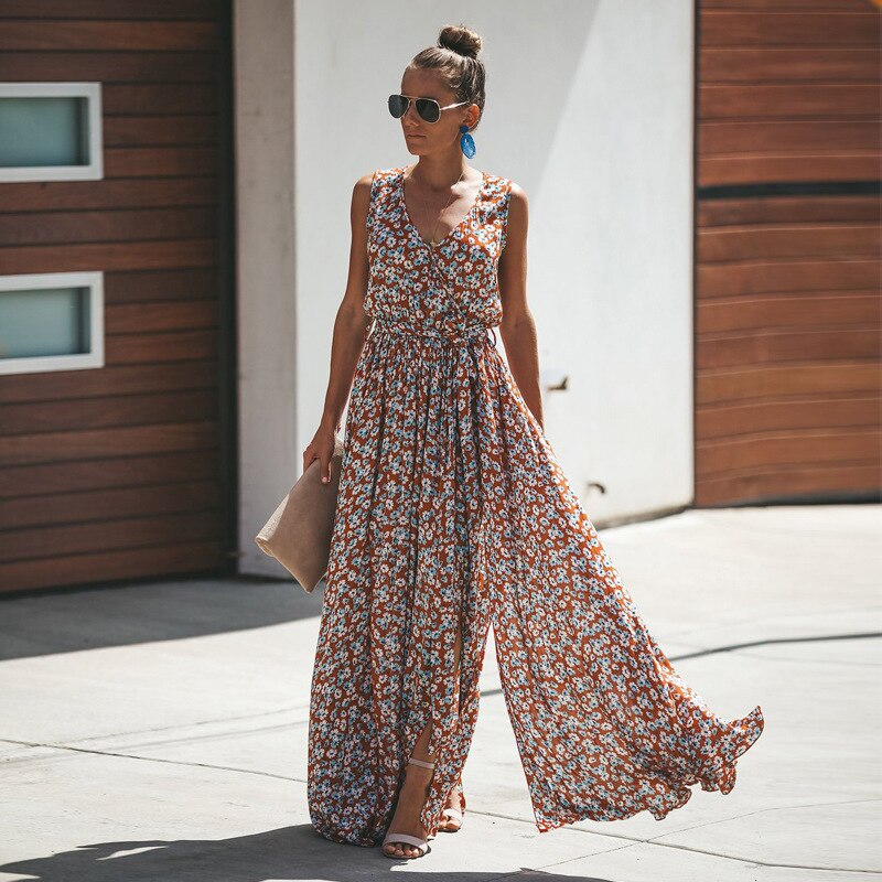 Summer Dress Women Printing Stitching Fashion Dress Female Beach Casual Lace Up Long Dresses High Quality Ladies Vestidos QX11