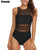 Riseado Women Swimwear One Piece Swimsuit 2020 Sexy Mesh Swim Wear High Neck Bathing Suit Women Black Beach Wear Plus Size XXL