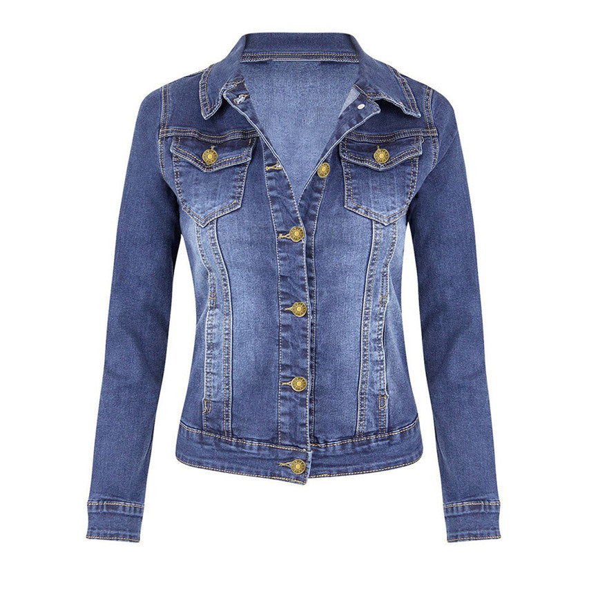 Women's Denim Jacket Short Women's Casual Coat Long Sleeve Pocket Button Coat Female Bomber Jackets Windbreaker Woman