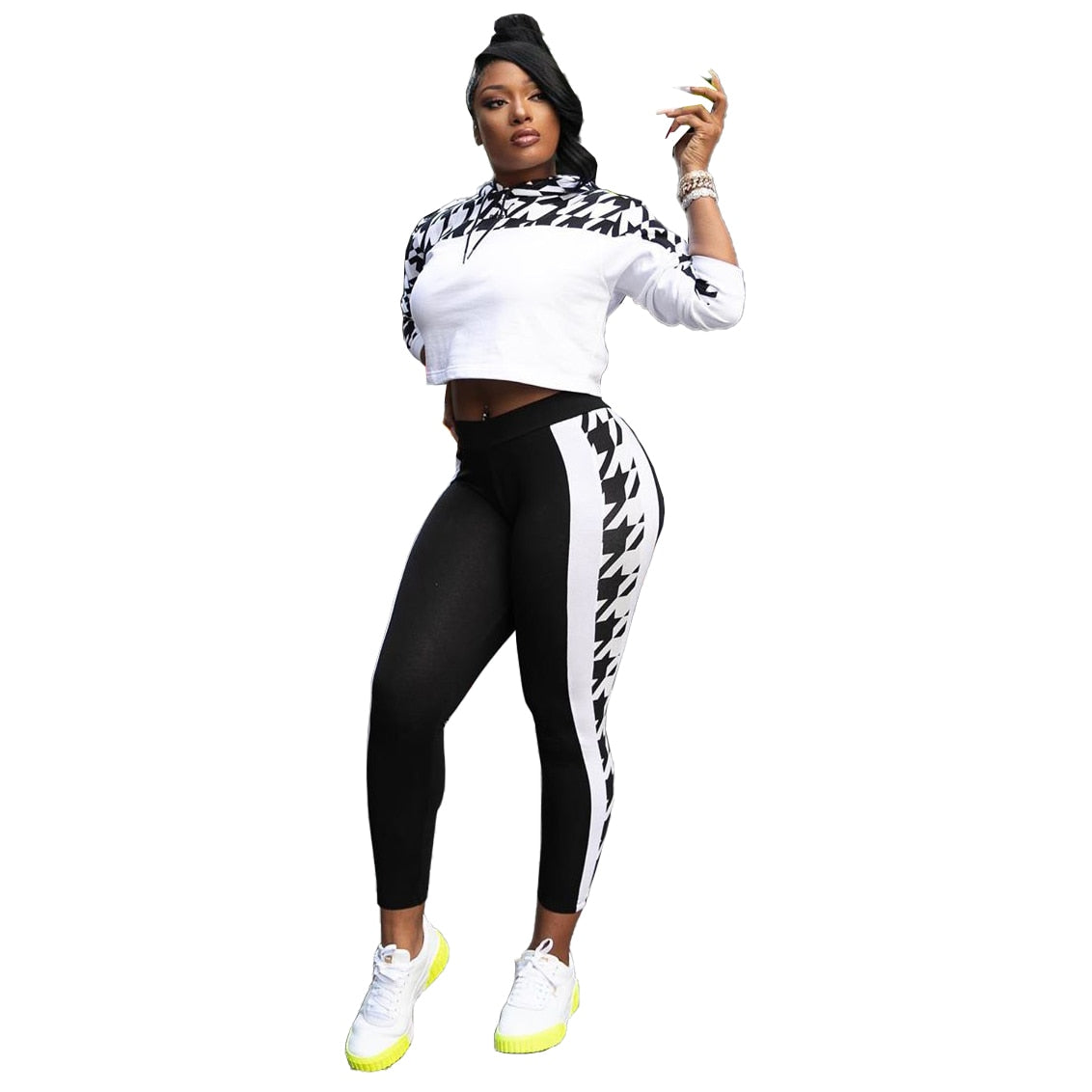 Winter Women Sets Full Sleeve Hooded Top+Pants Suits Plaid Print Two Piece Set Night Club Tracksuits Sporty Fitness Outfits 8092