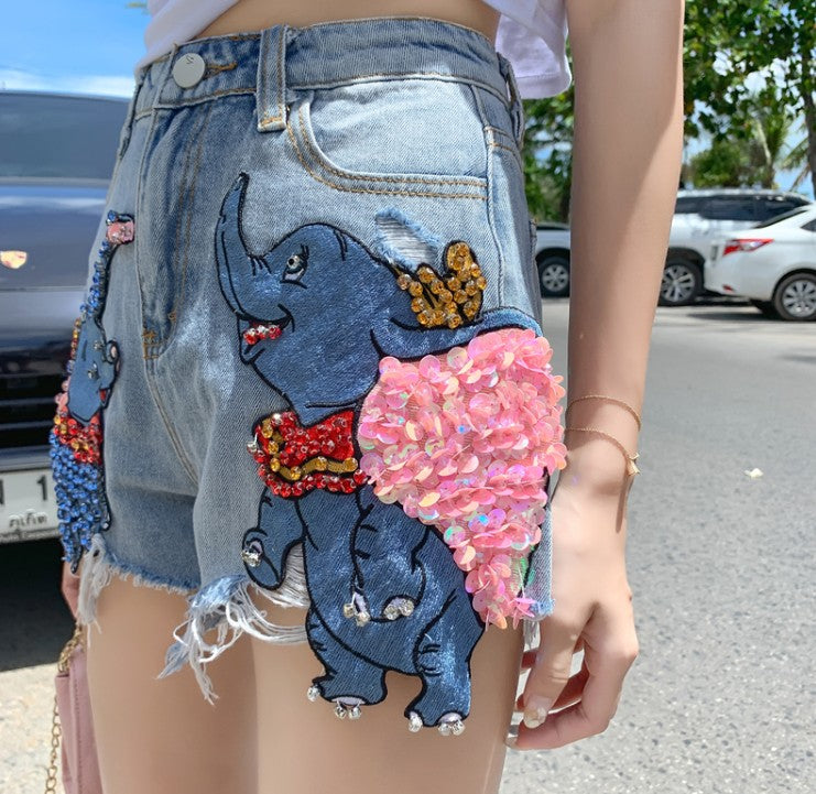 High Quality Cartoon Dumbo Sequined Diamond Denim Shorts Summer Loose Wide Leg Hole Shorts Students Shorts Women Casual