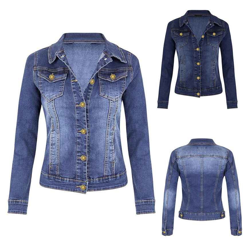 Women's Denim Jacket Short Fashion Women's Casual Coat Long Sleeve Pocket Button Coat Female Bomber Jackets Windbreaker Woman