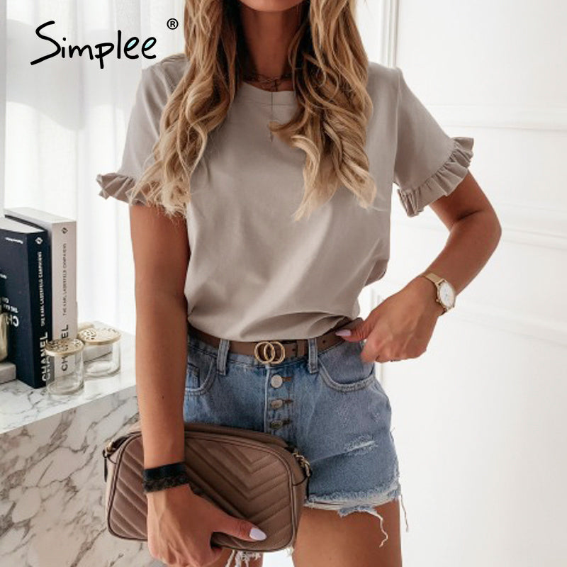 Simplee casual ruffles short sleeve plus size t shirts women solid loose t shirt spring summer all-match top ladies